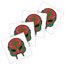 mysterio red mask wwe temporary tattoo pack of 4