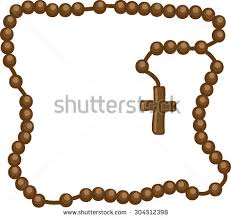 catholic rosary necklace holy rosary brown frame rosary brown stock vector 304512398