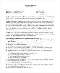 Data Entry Specialist Job Description Resume by Sample Data Entry Job Description 8 Examples In Pdf Word
