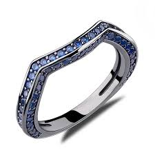 sapphire wedding rings images Caperci created blue sapphire diamond wedding ring for jpg