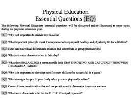 pe essential questions eq and vocabulary word wall