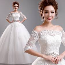 Wedding Dress Murah Ball Gown Wedding Dress 2015 Lace Crystal Boat Neck Half Sleeves