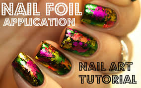 nail foil application tutorial using glue youtube