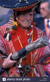 cuzco peru folklore musical instrument costume cultural stock