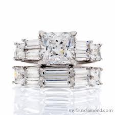 princess cut cubic zirconia wedding sets cubic zirconia wedding rings gold settings my faux page 4