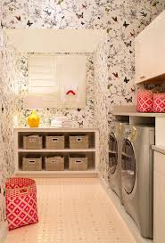 Bookcase With Baskets Baskets Design Laundry Room Contemporary With Pink Patterned