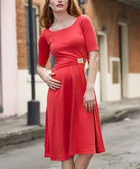 love this coral boatneck knee length fit u0026 flare dress on zulily
