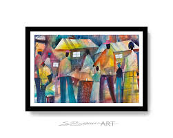 community affair watercolor print african american art colorful
