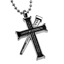 philippians 4 13 black cross and nail necklace with bible verse