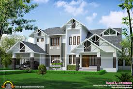 sloping roof house in 2872 square feet kerala home design and