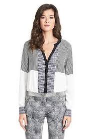 dvf u0027s trudy trim detail silk blouse in admiral navy ecru being