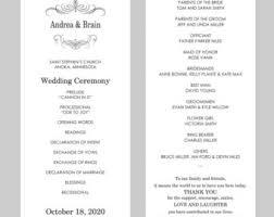 tea length wedding program template tea length wedding etsy