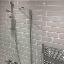 Grey Metro Bathroom Tiles Bevelled Brick Light Grey Gloss Wall Tiles Retro Metro Tiles
