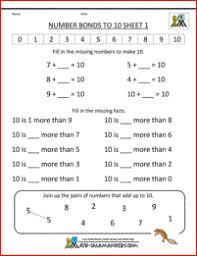 math worksheets for kids number bonds to 100