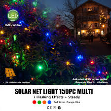 led solar christmas lights outdoor led solar net light 150pc multicoloured outbaxcamping