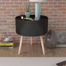 serving tray side table round side table black serving tray wooden storage kitchen furniture