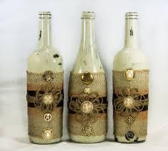 Burlap Home Decor Rustic Wine Bottle Centerpiece Distressed Paint Burlap U0026
