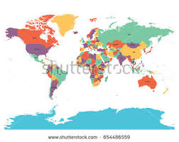 map without country names political map world antarctica countries four stock vector