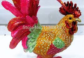 russian craft jewelry box color tin rooster ornaments home