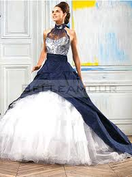 robe de mariã e avec dentelle de mariée bleu blanc taffetas dentelle organza licou traîne chapelle