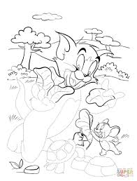 tom and jerry with turtle coloring page free printable coloring