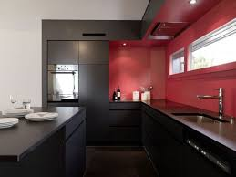 Red Black White Kitchen - wooden kitchen cabinet yellow chair electric cooktop marble