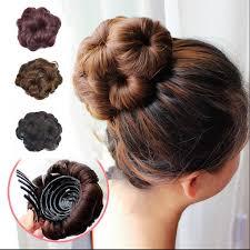 black hair bun easy clip in big flower bandana tiara hair bun bow crown chignon