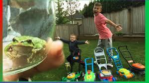 toy lawn mowers fun u0026 discovering a garden frog backyard play
