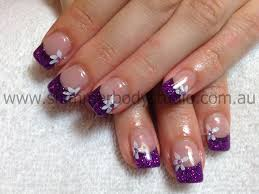 gel nails glitter nails purple nails flower nail art konad