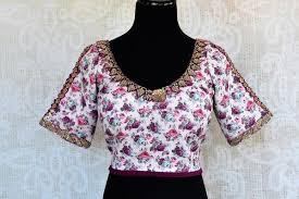 embroidered blouses buy white printed embroidered readymade saree blouse in usa
