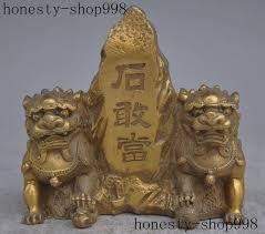 foo lion statue fengshui brass evil gate guardian foo fu dog lion statue