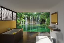 Bathroom  Bathroom Ideas Nature Mural Wallpaper With Built In Then
