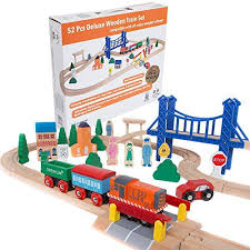 melissa and doug train table and set orbrium toys 52 pcs deluxe wooden train set with 3 destinations fits