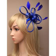 hair fascinator comb royal blue coiled net and feather fascinator on a clear comb