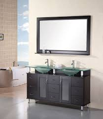 Adorna  Inch Contemporary Double Sink Bathroom Vanity Glass Top - Pictures of bathroom sinks and vanities 2