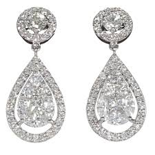 diamond dangle earrings illusion diamond dangle earrings for sale at 1stdibs