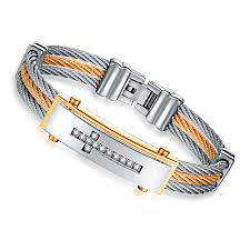men bracelet cross images Three rows of wire zircon cross christian men bracelet jpg