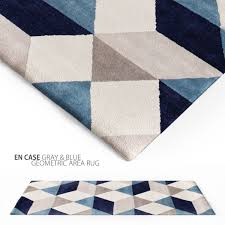 Gray Blue Area Rug En Casa Gray Blue Geometric Area Rug 3d Cgtrader