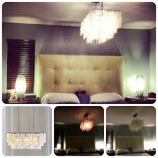 lighting capiz chandelier for bedroom design with tufted