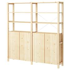 Ikea Pantry Shelf by Ivar 2 Section Shelving Unit W Cabinet 68 1 2x11 3 4x70 1 2