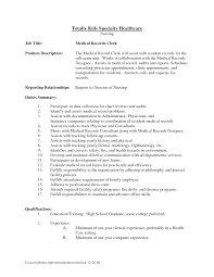 Resume Resume Samples For Secretary by Medical Records Resume Resume Templates