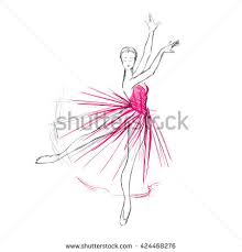 young ballerina freehand drawing ballet dancer stock vector