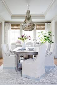Tray Ceiling Dining Room - shell chandelier with oval french dining table transitional