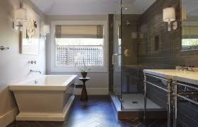 white wood tile bathroom stylish modern clear glass shower room