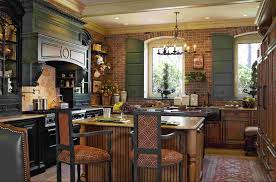 country kitchen design blue design accent color on cabinets round