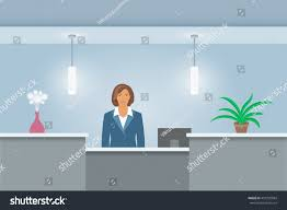 Registration Desk Design African American Woman Receptionist Stands Reception Stock Vector