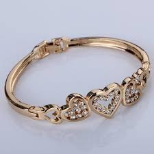 rose bangle bracelet images Cute rose gold five hollow heart carve crystal chain link bangle jpg