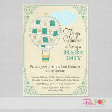 air balloon green baby shower invitation pop