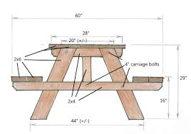 Plans For Picnic Table With Attached Benches by Picnic Table Designs