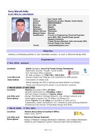 Resume Job Title Format by Electrical Engineer Cv